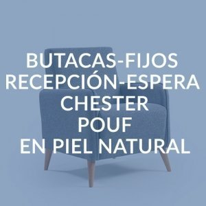 BUTACAS-FIJOS / RECEPCIÓN-ESPERA / CHESTER / POUF EN PIEL NATURAL